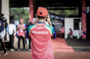 Community volunteer at event